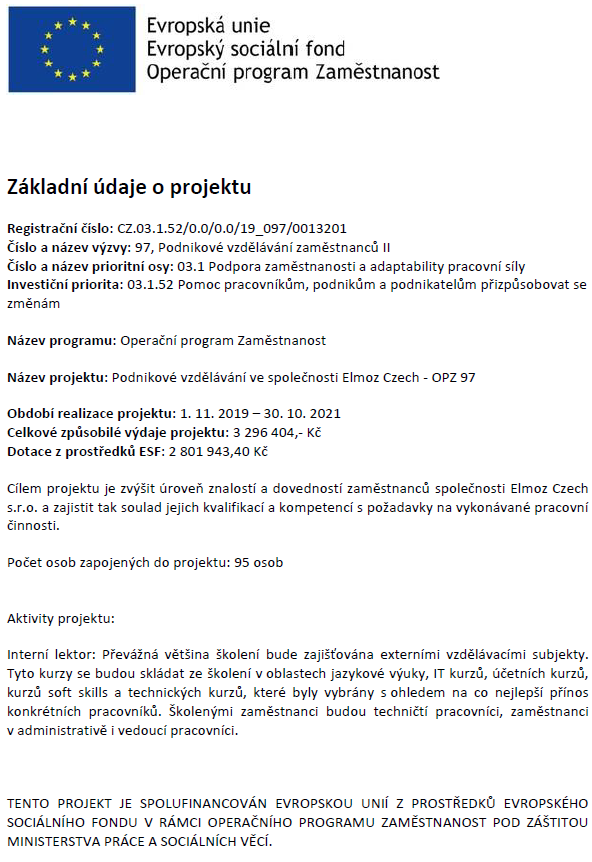 Operační programy z EU - Elmoz Czech